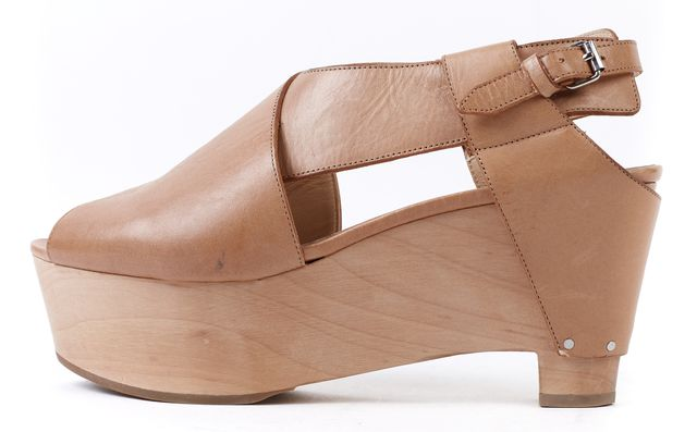 3.1 PHILLIP LIM Beige Leather Palomino Peep-Toe Platform Shoes