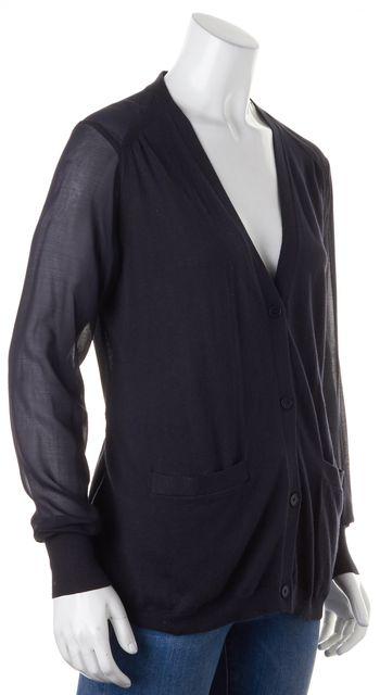 3.1 PHILLIP LIM Black Silk Knit Sheer Crepe Combo V-Neck Cardigan