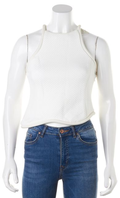 3.1 PHILLIP LIM White Quilted Cotton Silk Piping Sleeveless Cropped Top