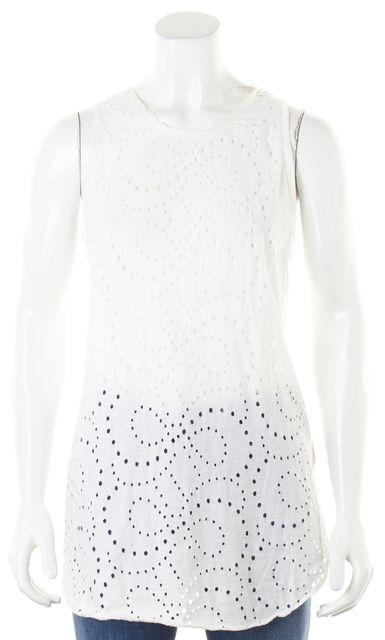 3.1 PHILLIP LIM White Distressed Sleeveless Blouse Top