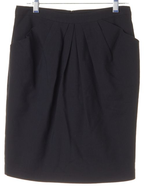 3.1 PHILLIP LIM Black Front Pleat Above Knee Pencil Skirt