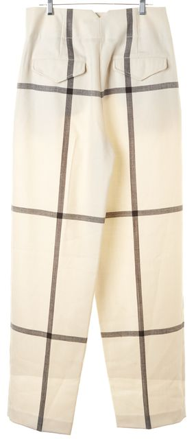 3.1 PHILLIP LIM Ivory Gray Plaid Wool High Waisted Trouser Dress Pants