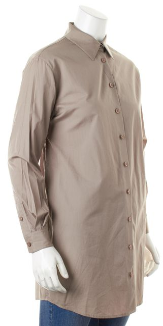 3.1 PHILLIP LIM Taupe Gray Open Bow-TIe Back Long Button Down Shirt Blouse