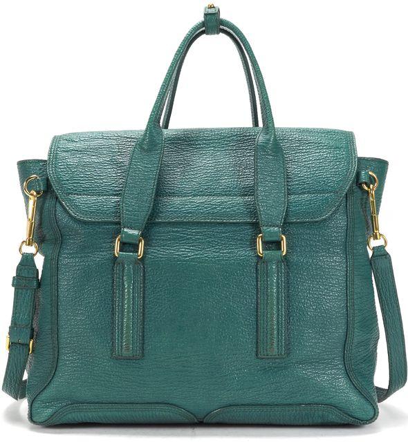 3.1 PHILLIP LIM Green Textured Leather Pashli Large Satchel