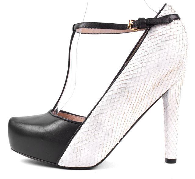 3.1 PHILLIP LIM Black White Leather Suede Snake T-Strap Heels