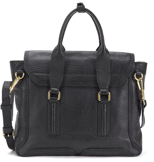 3.1 PHILLIP LIM Black Textured Leather Gold-Tone Hardware Pashli Satchel Bag