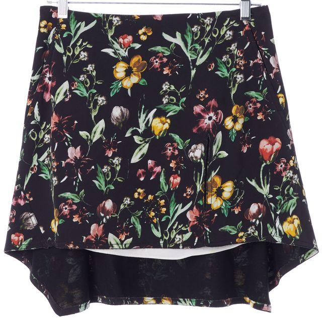 3.1 PHILLIP LIM Black Green Pink Floral Silk A-Line Skirt