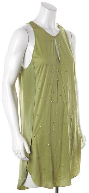 3.1 PHILLIP LIM Green Pearl Bead Embellished Sleeveless Shift Dress