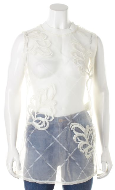 3.1 PHILLIP LIM Ivory Floral Embroidered Sleeveless Sheer Blouse