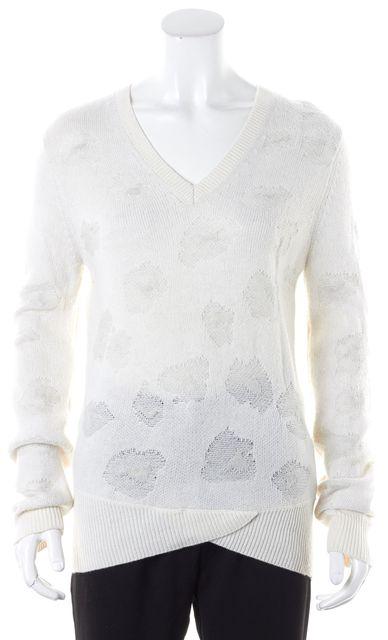 3.1 PHILLIP LIM White Intarsia Wool Light Crewneck Sweater