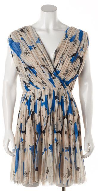 3.1 PHILLIP LIM Light Beige Blue Abstract Silk Pleated Wrap Blouson Dress