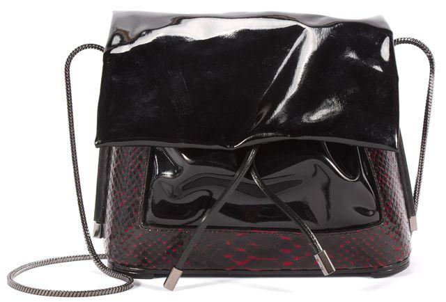 3.1 PHILLIP LIM Black Red Patent Leather Snake Skin Trim Shoulder Handbag