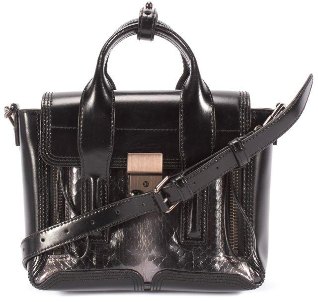 3.1 PHILLIP LIM Black Leather Snake Skin Mini Satchel Handbag