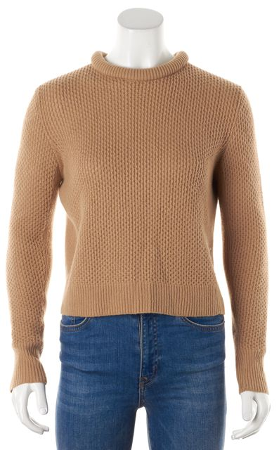 3.1 PHILLIP LIM Camel Beige Wool Waffle Knit Rolled Crewneck Sweater