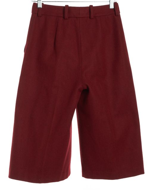 3.1 PHILLIP LIM Red Wool Wide Leg Capris Cropped Pants