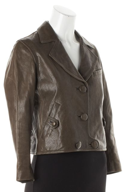 3.1 PHILLIP LIM Olive Brown Cropped Leather Button-Up Motorcycle Jacket