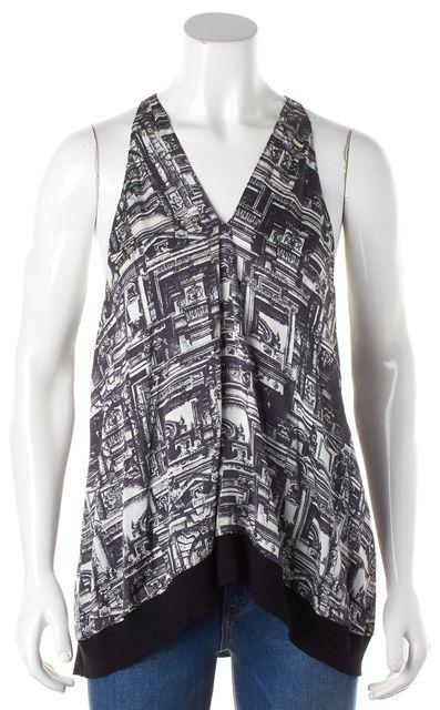 3.1 PHILLIP LIM Black V-Neck Abstract Silk Tank Top