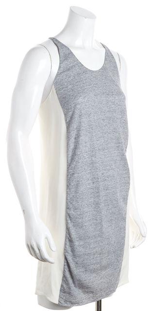 3.1 PHILLIP LIM Ivory Silk Gray Cotton Colorblock Tank Shift Dress