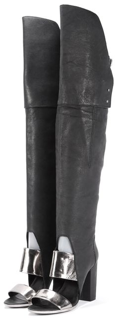 3.1 PHILLIP LIM Black Leather Ora Over the Knee Open Toe Tall Boots