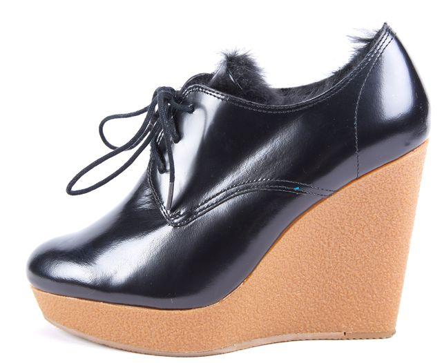 3.1 PHILLIP LIM Black Patent Leather Fur Wedges