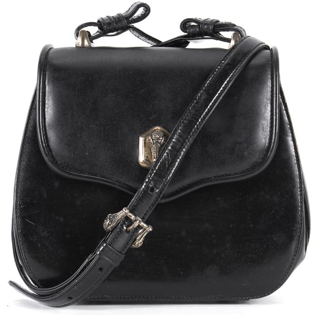BARRY KIESELSTEIN-CORD Black Leather Crocodile Hardware Small Crossbody Bag