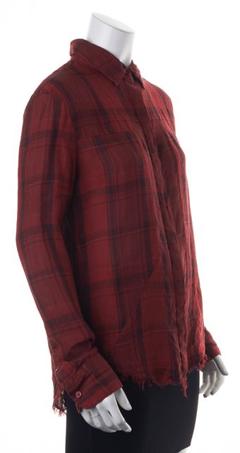RTA Red Black Grey Plaid Linen Button Down Frayed Trim Shirt Top