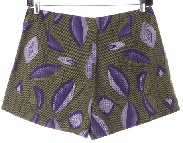 LAURENCE DOLIGÉ Green Yellow Purple Abstract Print Casual Shorts