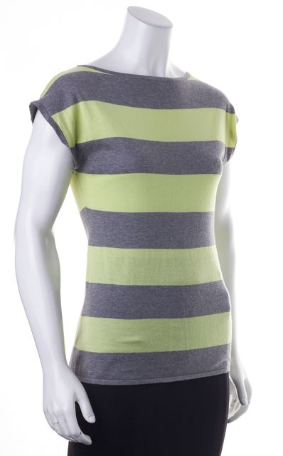 COTTON BY AUTUMN CASHMERE Gray Yellow Striped Basic Short Sleeve T-Shirt