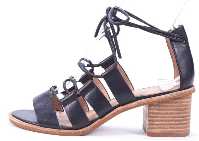 MADEWELL Black Leather Tyra Lace-Up Sandal Heels