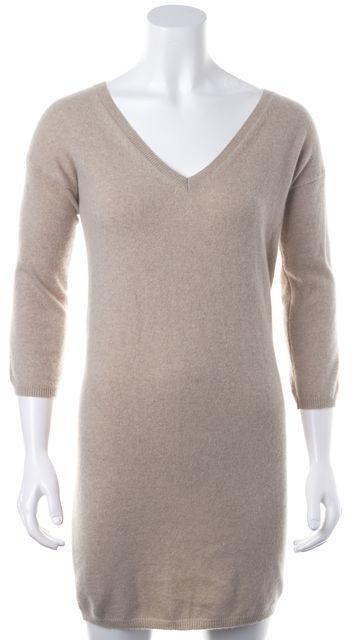 360CASHMERE Beige Cashmere 3/4 Sleeve V-Neck Sweater