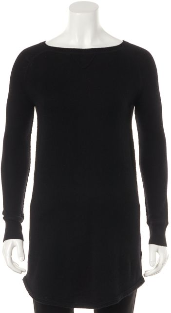 360CASHMERE Black Wool Boat Neck Long Relaxed Casual Tunic Knit Sweater
