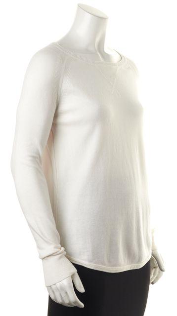 360CASHMERE White Graphic Surf Crew Neck Pullover Cashmere Sweater