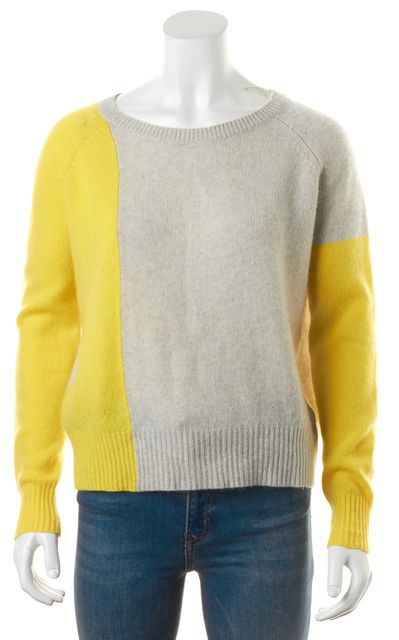 360CASHMERE Gray Yellow Color Block Cashmere Crewneck Sweater