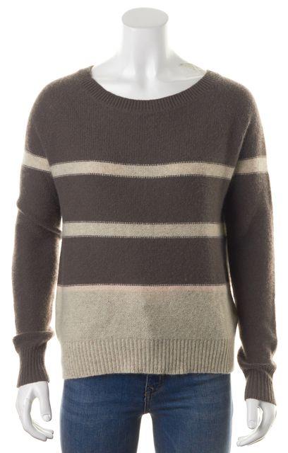 360CASHMERE Brown Beige Pink Striped Cashmere Crewneck Sweater