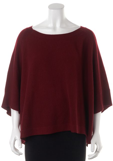 360CASHMERE Red 100% Cashmere Boat Neck Batwing Sleeve Sweater