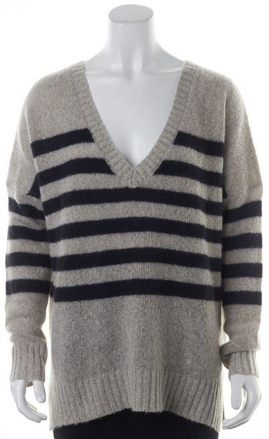 360CASHMERE Gray Black Striped Cashmere Monroe V-Neck Sweater