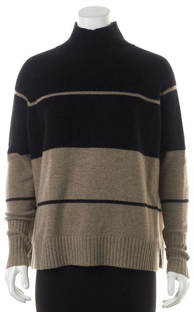 360CASHMERE Black Beige Striped Wool Turtleneck Sweater
