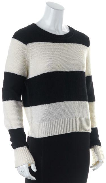 360CASHMERE Black Ivory Striped Cashmere Crewneck Sweater