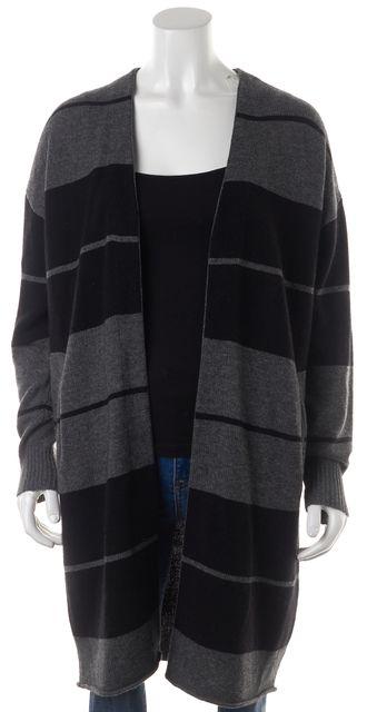 360CASHMERE Gray Black Striped Wool Open Drape Long Cardigan