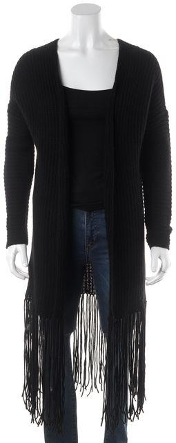 360CASHMERE Black Fringe Trim Wool Cashmere Open Cardigan