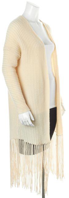 360CASHMERE Ivory Wool Cashmere Fringe Trim Open Cardigan