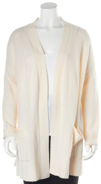 360CASHMERE Ivory Perforated Trim Cashmere Open Cardigan
