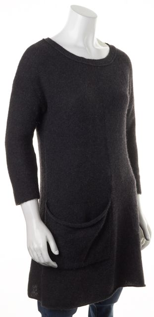 360CASHMERE Gray Cashmere Pocket Front Long Crewneck Sweater