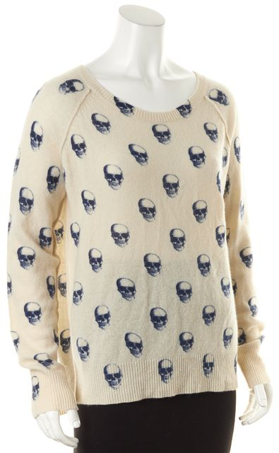 360CASHMERE Beige Blue Cashmere Skeleton Graphic Boat Neck Sweater