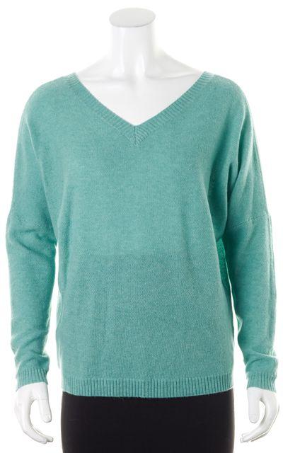 360CASHMERE Teal Blue Textured Cashmere V-Neck Sweater