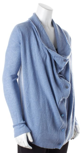 360CASHMERE Blue Cashmere Knit Long Sleeve Cowl Neck Cardigan Sweater