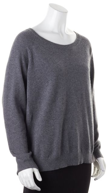 360CASHMERE Gray Red Scull Graphic Wide Crewneck Knit Sweater