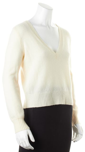 360CASHMERE Ivory Cashmere V-Neck Sweater
