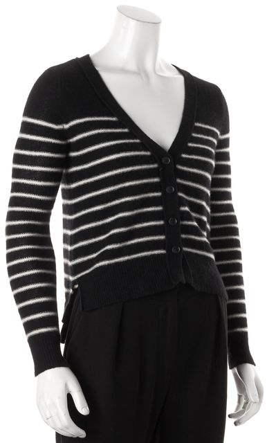 360CASHMERE Black White Cashmere Striped Cardigan