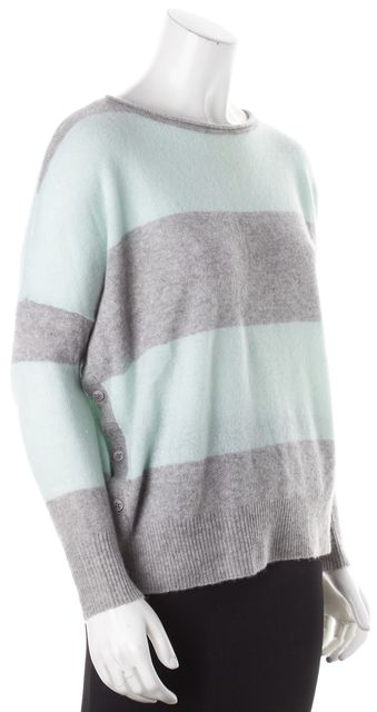 360CASHMERE Green & Gray Striped Crewneck Asymmetric Button Up Sweater